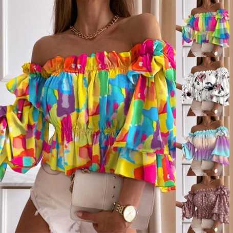 Women T-Shirts Sexy Off Shoulder Multi-layer Top Colorful Pleated Ladies Flare Sleeve Shirt for Dating Club for Autumn футболка